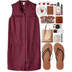 A fashion look from February 2015 featuring plum purple dress, leather flip flops и real leather tote. Browse and shop related looks.