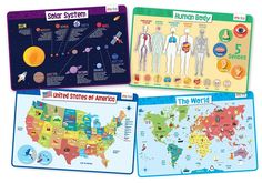 merka Educational Placemats for Kids - Explorer Set - Bundle of 4 Mats - Human Body, USA and World Map and The Solar System - Non Slip, Washable and Reusable - Planets, Countries, States and Capitals Learning Tools, Learning Resources, Kids Learning, States And Capitals, Placemat Sets, Us Map, New Things To Learn, Kids Education, Solar System