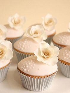 Indian Weddings Inspirations. White cupcakes. Repinned by #indianweddingsmag #weddingcupcakes #bakery indianweddingsmag.com Pretty Cupcakes, Beautiful Cupcakes, Flower Cupcakes, Yummy Cupcakes, Wedding Cupcakes, Cupcake Cookies, Rose Cupcake, Pink Cupcakes, Valentine Cupcakes