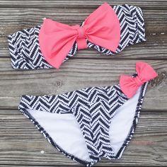 94ab4b8f954f9 black chevron swimwear pink bow bikini bow bikini bandeau amazinglace Bow  Bandeau, Black Chevron,