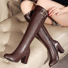 Shoespie Gaint Buckle Chunky Heel Knee High Boots