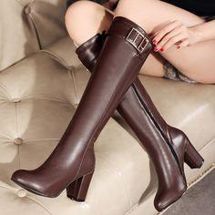 Shoespie Gaint Buckle Chunky Heel Knee High Boots
