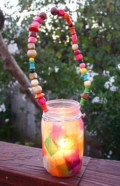 Glass Jar Lantern and Beaded Handle