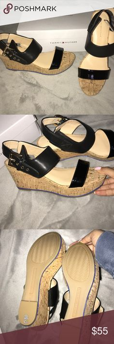 Tommy Hilfiger Wedges Never worn new in box (never had a tag on them just the box) black and cork Tommy Hilfiger Shoes Wedges