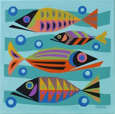 Do these colorful retro fish make you smile? Don't you feel better now, smiling is good for your health!