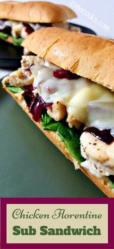 Chicken Florentine Sub Sandwiches have tender juicy Italian seasoned chicken combined with fresh baby spinach leaves, sweet red onion sauce, provolone cheese, and garlic mayonnaise sauce on a deli sub roll. These sandwiches make a great lunch, dinner or romantic date night for two. #chicken #Florentine #spinach #sandwich #recipesfortwo #lunch #dinnerfortwo