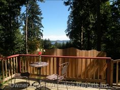 Surrounded by old growth trees with a wonderful ocean view. Bc Home, Cabins And Cottages, How To Get Warm, Vacation Rentals, Lodges, Spring Time, Villa, Trees, Ocean