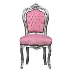 Casa Padrino Barock Esszimmer Stuhl Rosa/Silber Stühle Esszimmerstühle ohne Armlehne