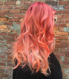 Pink to peach multi-tonal ombré. Featuring #LimeCrimeNeonPeach. Loved doing this one! I used #schwarzkopf for the base, and then toned with #Pravana Too Cute Coral, Lime Crime Neon Peach and #PulpRiot Blush with a bit of Lemon for these peachy...