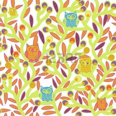 Seamless vector texture with drawing trees and owls Stock Photo - 17914914
