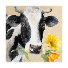 Belle of the Farm Cow Wall Art Cow Wall Art, Cow Art, Cow Pictures, Cow Pics, Flower Canvas Art, Cow Canvas, Cow Decor, Sunflower Art, Farm Art