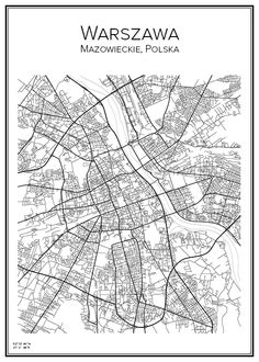 Warszawa. Polska. Poland. Map. City print. Print. Affisch. Tavla. Tryck. Stadskarta.