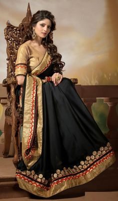 Become your own fashion stylist owning this black chiffon and georgette embroidered saree. This pretty attire is displaying some terrific embroidery done with lace, patch and resham work. #NewLatestEveningSarees