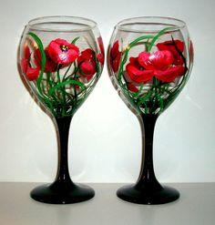 Handpainted Wine Glasses Red Poppies Set by SharonsCustomArtwork