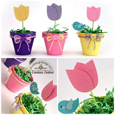 Doodlebug Design Inc Blog: Sugar Coated Tulip Flower Pot Tutorial by Candace ( could be made into a card easily with a paper flower pot)