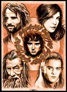 Aragorn, Arwen, Gandalf, Legolas, Frodo, Lord of the Rings Fan Art