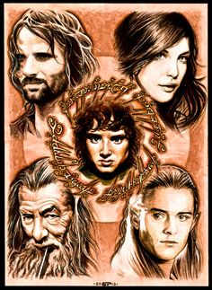 Aragorn, Arwen, Gandalf, Legolas, Frodo, Lord of the Rings Fan Art