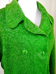 European Vintage Green Knit Coat, Wool Green Knitted Coat, 1980s Double-Breasted Coat, Handmade Coat: Size 12-14 (US), 16-18 (UK) by YouLookAmazing on Etsy