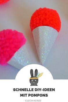 Pompon/Pompom/Bommel wie auch immer ihr es nennt. Wir basteln mit Kindern tolle Deko. Eis aus Pompoms, kleine Bommel-Osterhasen und Schlüsselanhänger. Mit Anleitungsvideo.  #pompom #pompon #bommel #bastelnmitkindern Candyland, Diy For Kids, Kindergarten, Blog, Crafts, Pom Poms, Jewelry Making, Card Crafts, Bricolage