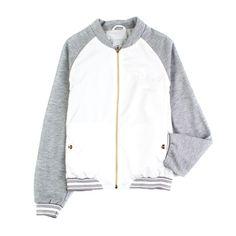 d1111937cbd3 Herno - Giubbino Grigio E Bianco Girl Esclusiva giacca stile felpa grigio  melange e bianco firmato