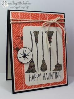 I used the Stampin' Up!If the Broom Fits and Cheer All Year stamp sets to create my card to share today. My card design was inspired by Mojo Monday 418. I started by stamping the spider images fro...