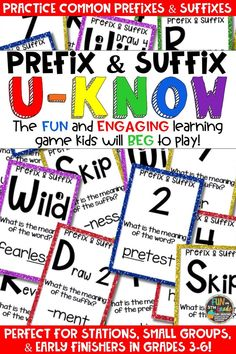 Students love playing U-Know games for fun REVIEW of prefixes and suffixes or test prep. It's a perfect addition to any small group or station, and great for early finishers. Prefix & Suffix U-Know is a fun learning game played similar to UNO except if you get an answer wrong, you have to draw two! Students will beg to practice affixes in this way!