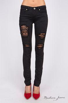 Machine Jeans Destroyed Skinny Jeggings Dark Grey