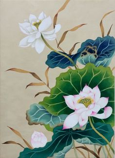 Lotus Flowers-Original Watercolor Painting-Pink Lotus With Blue and Green Background-Flower Wall Art - Lotus Flower Art, Lotus Art, Pink Lotus, Korean Painting, Japanese Painting, Japanese Drawings, Japanese Art, Korean Art, Asian Art