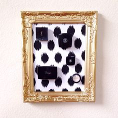 Gold and Black Ikat Make Up Frame  by Downtownalyshop on Etsy https://www.etsy.com/listing/231263684/gold-and-black-ikat-make-up-frame