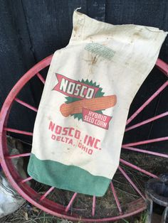 Vintage Seed Corn Sack Nosco Delta Ohio Double by AStringorTwo
