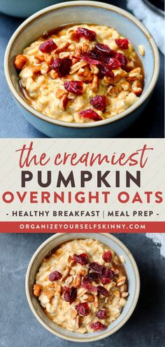 The Creamiest Pumpkin Overnight Oats | Easy Breakfast Idea - Looking for the perfect Fall breakfast? These oats are made with pumpkin puree, greek yogurt, pumpkin spice, and sweetened with just the right amount of pure maple syrup. It's truly like fall in a jar! If you wait all year to enjoy pumpkin spice, then make sure to put this wholesome delicious breakfast on the meal plan. Organize Yourself Skinny | Oats Breakfast | Meal Prep Breakfast | Healthy Eating #breakfast #overnightoats #fall