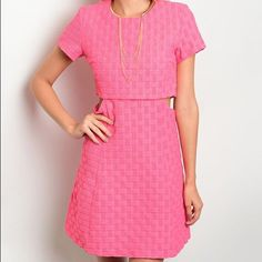 Waffle Zip-Back Dress A vibrant hue underscores the eye-catching appeal of this short-sleeve dress, while its cotton blend ensures breathable comfort. Size note: This item runs in juniors sizing. * Necklace not included * 65% polyester / 30% cotton / 5% spandex Dresses