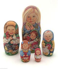 Unique Russian Nesting DOLL Hand Painted Babushka in Предметы для коллекций, Культурные и этнические группы, Россия | eBay