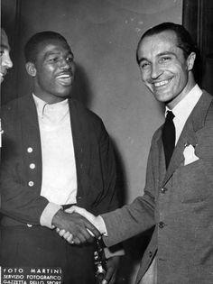 Mangiarotti incontra Sugar Ray Robinson alla Gazzetta dello Sport  nel 1951 - Mangiarotti meets Sugar Ray Robinson at the Gazzetta dello Sport in 1951