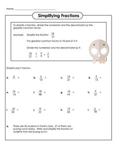 math worksheet : simplifying fractions worksheet 6th grade  free math worksheets  : Simplest Form Worksheets