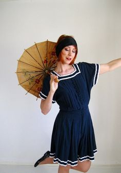 Hit The Beach With A 1920s Inspired Look Navy Blue Romper Nautical Fashion 80s…