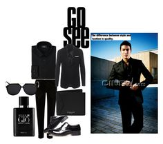 """Man in Black"" by roseyfox ❤ liked on Polyvore featuring Giorgio Armani, River Island, Neil Barrett, Michael Kors, men's fashion, menswear, DateNight and danielhenney"