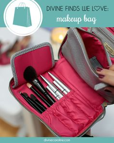 Keep your cosmetics and makeup brushes secure and organized in this stylish makeup bag! #makeup #shopping