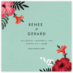Kona Floral (Save the Date) - Celadon - Paperless Post