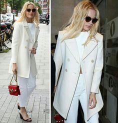 Adorei o visual lindo, clean e inspirador da Margot Robbie, em diferentes tons de branco, com um toque de vermelho!✨ #creative #fashion #style  #margotrobbie