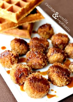 A twist on chicken and waffles in meatball form! Juicy chicken meatballs coated and baked in waffle crumbs.