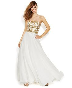 Joanna Chen Strapless Geo-Beaded Bustier Prom Dress #Macys #JoannaChenNY