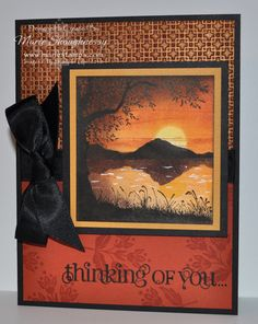 Card with a gorgeous scene: MINIATURE COPPER SUNSET...done with stamps and brayering...beautiful sunset...