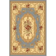 A spectacular floral motif adds timeless elegance to the Rugs America Sorrento 2513 Indoor Area Rug. This beautiful rug features a soil and stain resistant quality for easy clean-ups. Medan, Floral Area Rugs, Beige Area Rugs, Aubusson Rugs, Traditional Area Rugs, Light Blue Area Rug, Yellow Rug, Blue Bedding, Blue Design