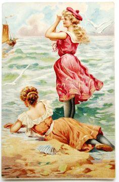 Bathing Beauty Belle Binoculars Sees Sailboat Postcard