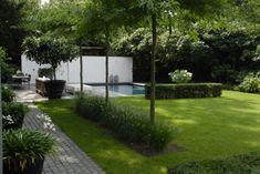 Anne Laansma - Pure simplicity in a modern garden with swimming pool - High ■ Exclusive . Modern Garden Design, Contemporary Garden, Landscape Design, Back Gardens, Small Gardens, Outdoor Gardens, Modern Landscaping, Outdoor Landscaping, Backyard Ideas For Small Yards