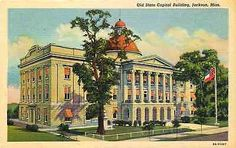 Jackson Mississippi MS 1939 Old State Capitol Building Antique Vintage Postcard Jackson Mississippi, Capitol Building, Ms, Antique, Vintage, Sweet, Artist, Painting, Candy