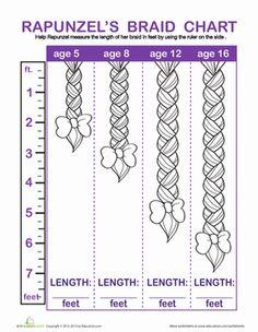 Kindergarten Measurement Fairy Tales Worksheets: Rapunzel Braid Measurement