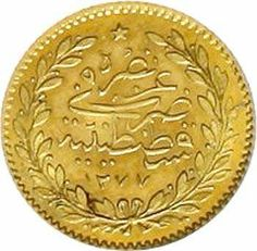 Turkey Abd al Aziz 1861-1876 (provisional issue 1277-1293) . Gold medal in 25 Quirsh SIZE. Provisional issue 1277, year 2 = 1862 Qustintiniyah. ext...