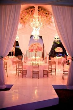 pink and gold wedding reception... On a grand scale idea